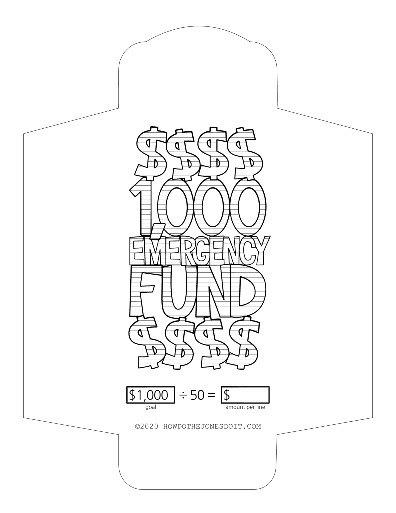 $1,000 Emergency Fund Cash Envelope