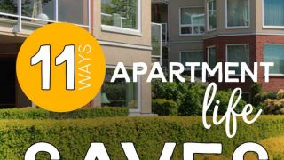 Apartment Buildings with the words: 11 Ways Apartment Life Has Saved Us Money