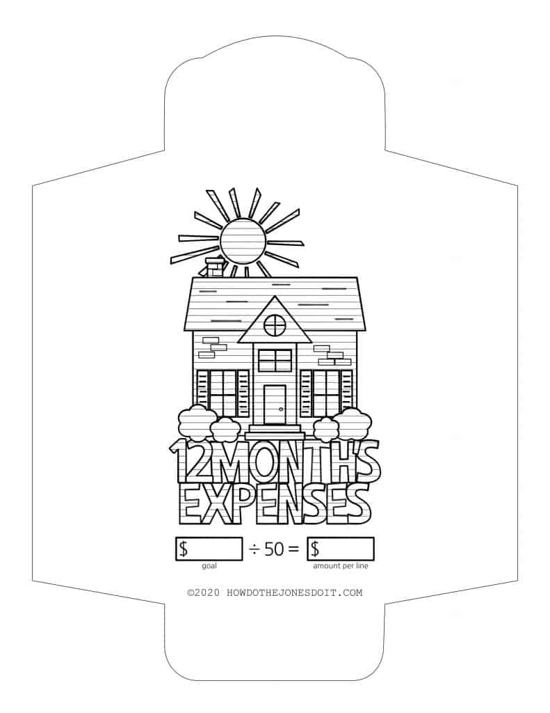 12 Month's Expenses Sinking Fund Envelope Printable
