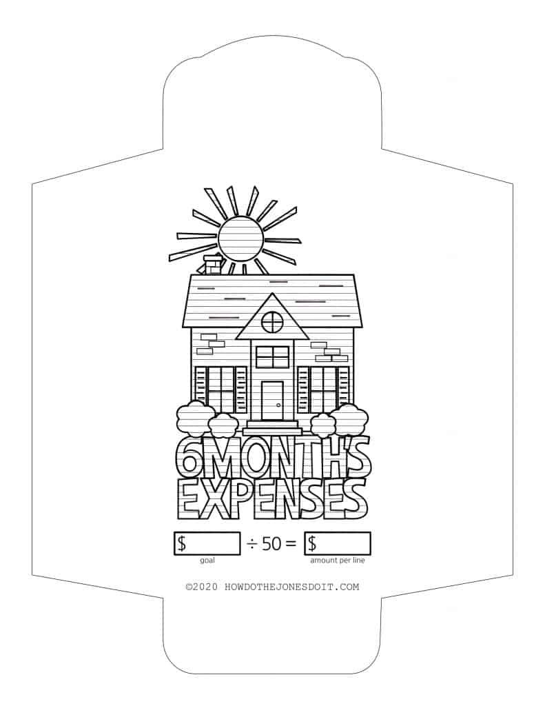 6 Month's Expenses Sinking Fund Envelope Printable