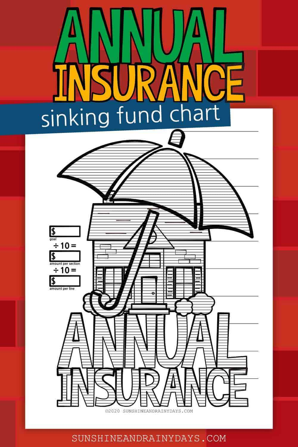 Printable Annual Home Insurance Sinking Fund Chart