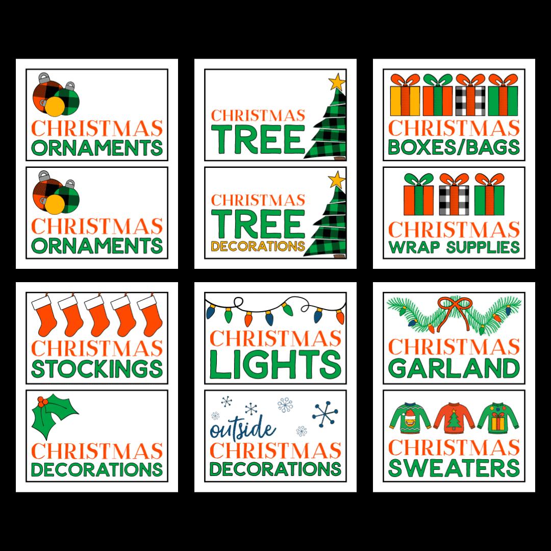 Christmas Storage Box Label Printables