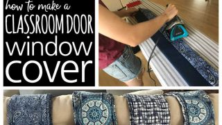 Cutting and ironing fabric with the words: How To Make A Classroom Door Window Covering