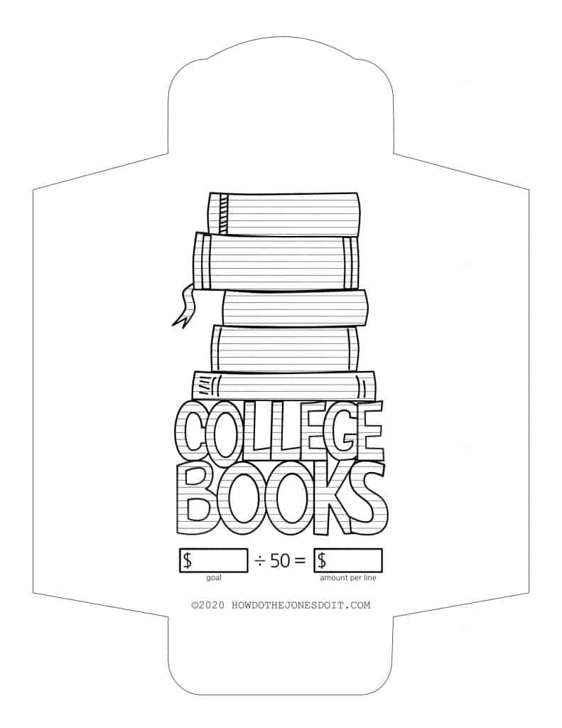 College Books Sinking Fund Envelope Printable