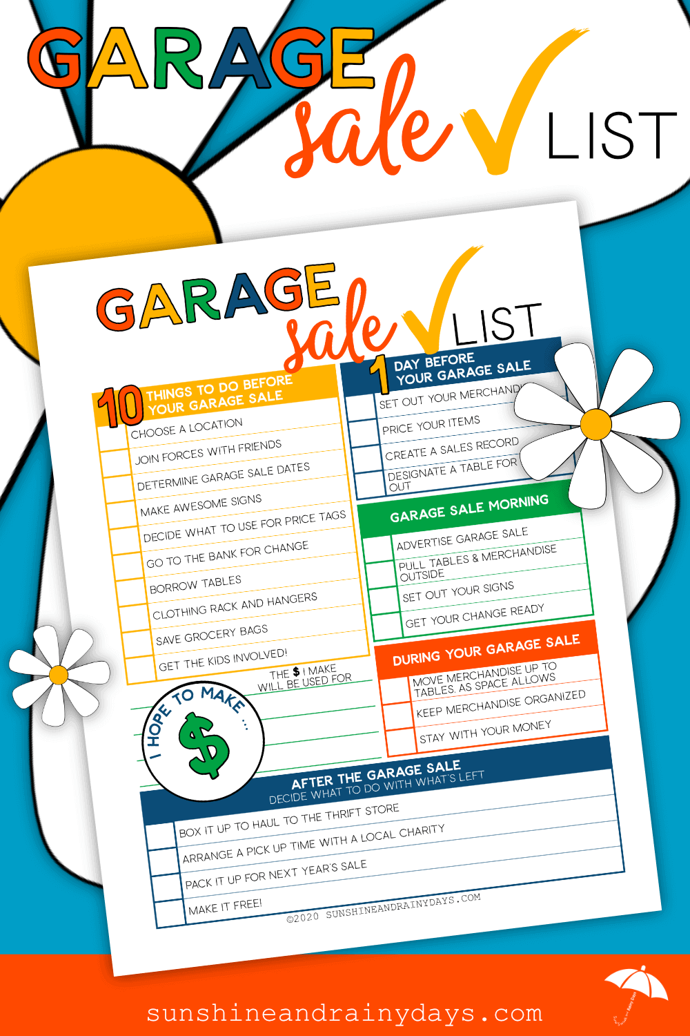 Printable Garage Sale Checklist