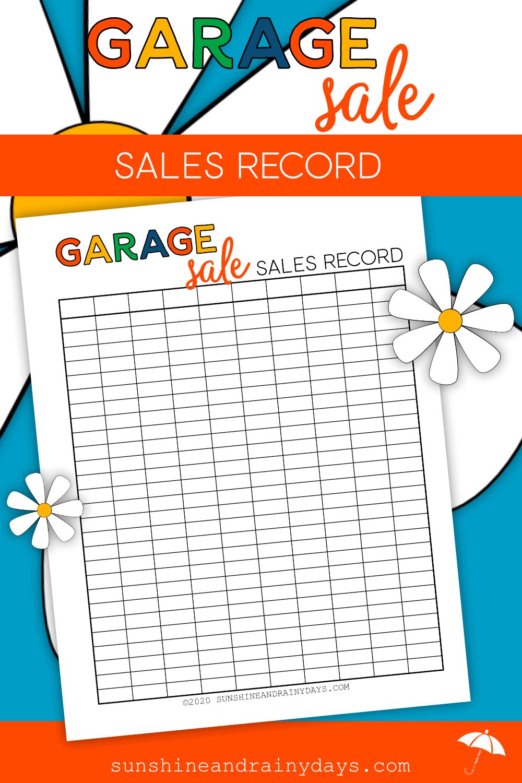 Printable Garage Sale Sales Record