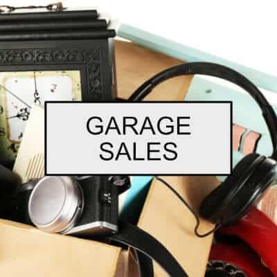 Box of garage sale items.