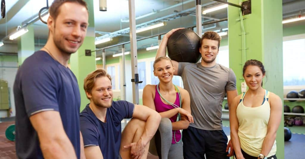 People socializing at the gym.