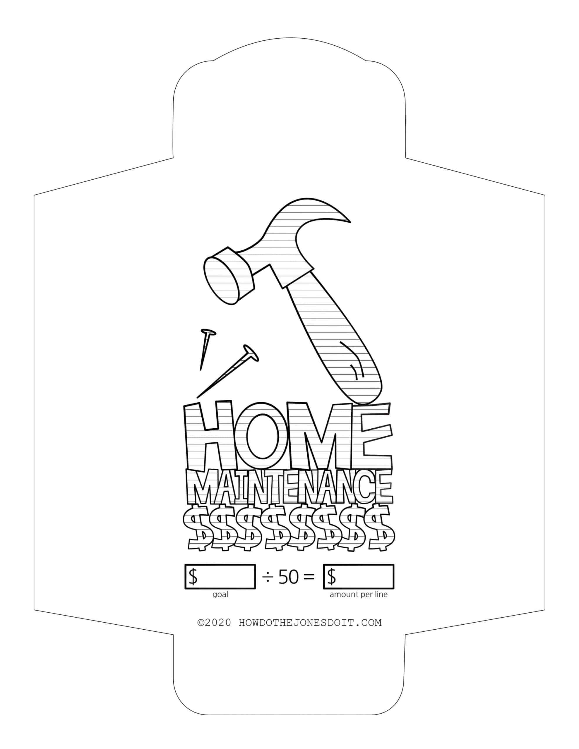 Home Maintenance Sinking Fund Envelope Printable