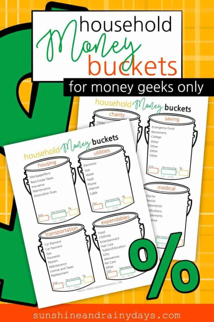 Household Money Buckets - Printables