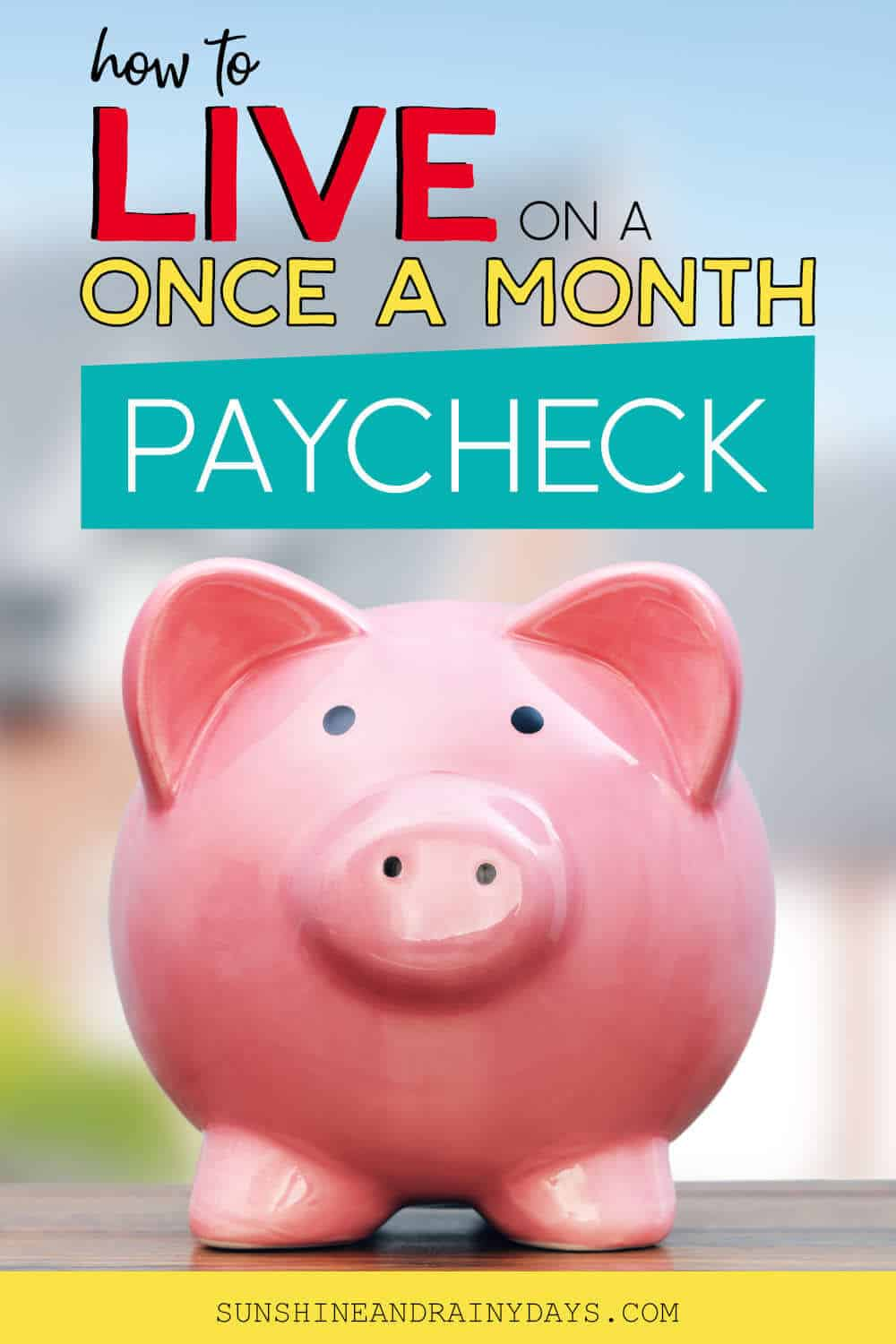 Piggy Bank with the words: How To Live On A Once A Month Paycheck