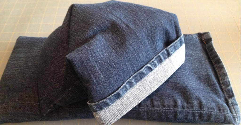 Flax seed heating bags made out of old jeans.