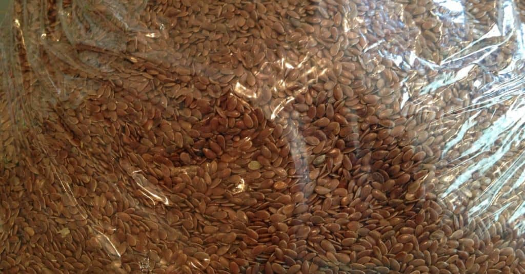 flax seeds in a clear bag