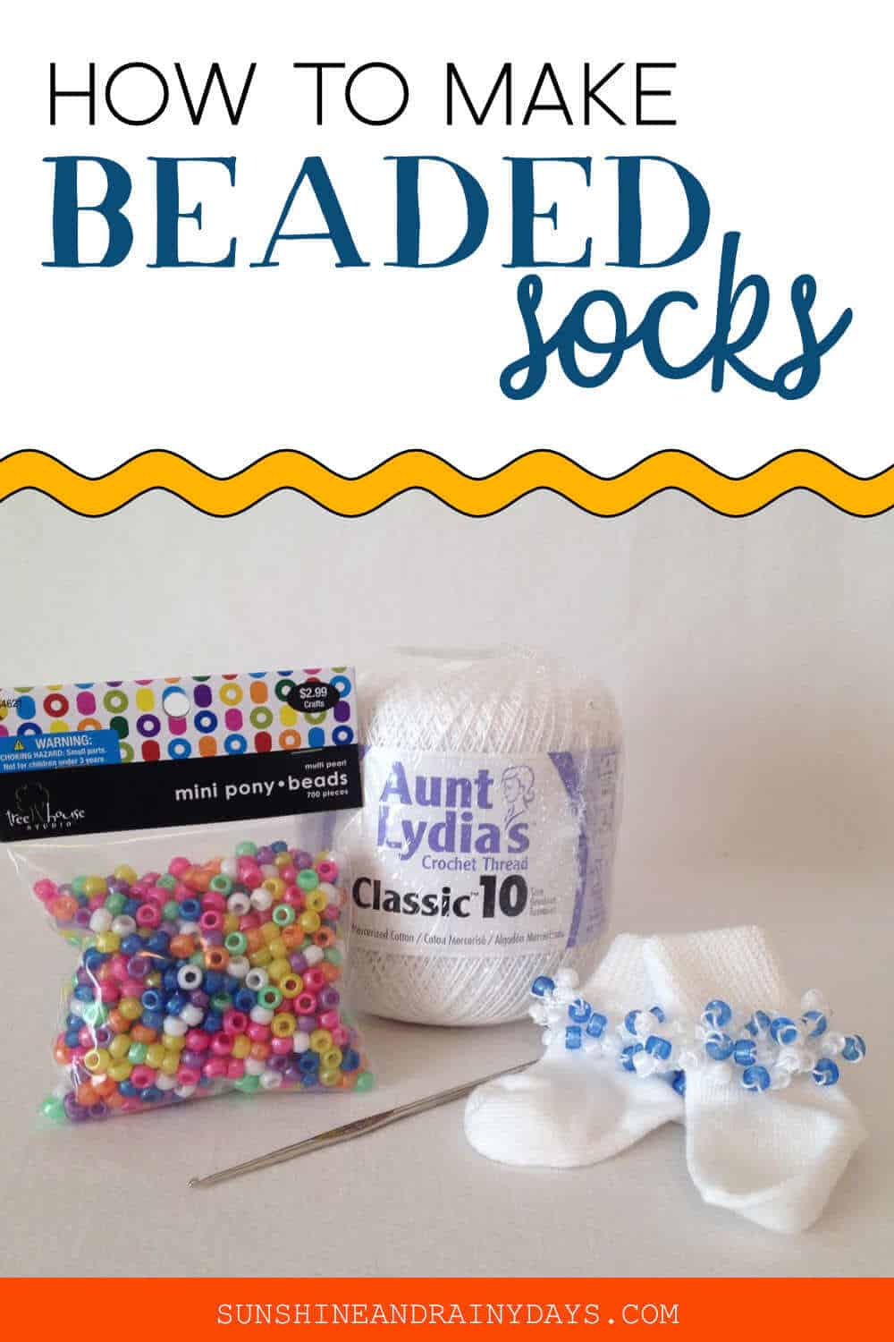 Image of beaded socks, crochet thread, and beads with the words: How To Make Beaded Socks