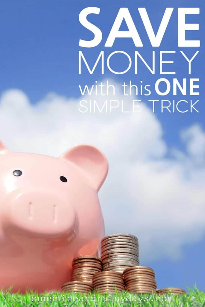 Piggy Bank with piles of coins and the words: Save Money With This One Simple Trick.
