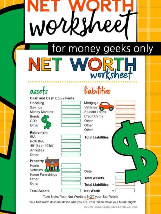 Net Worth Worksheet Printable