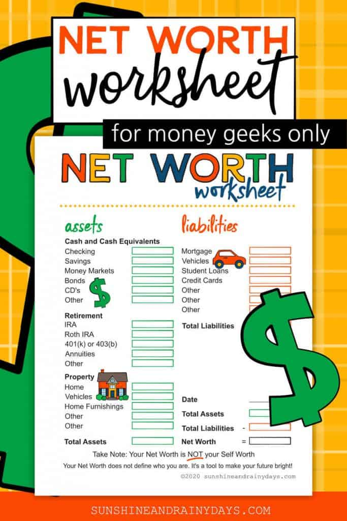 Net Worth Worksheet Printable