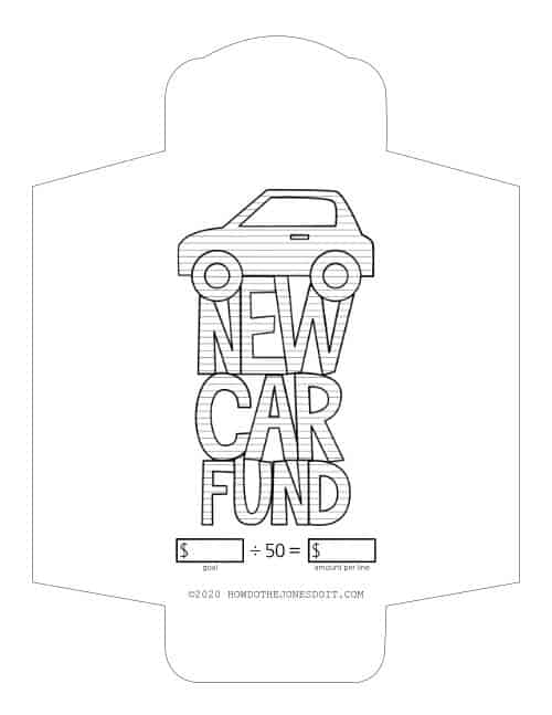 New Car Fund Sinking Fund Envelope