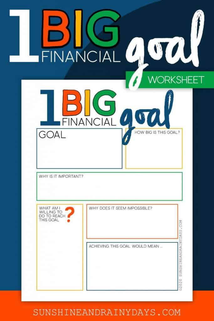 One big financial goal worksheet.