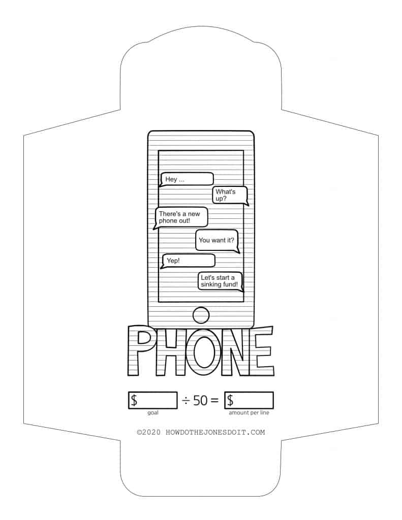 Phone Sinking Fund Envelope Printable