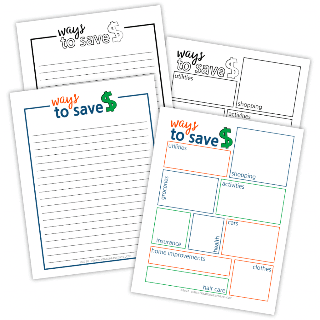 Ways To Save Money Printables in color and black and white.