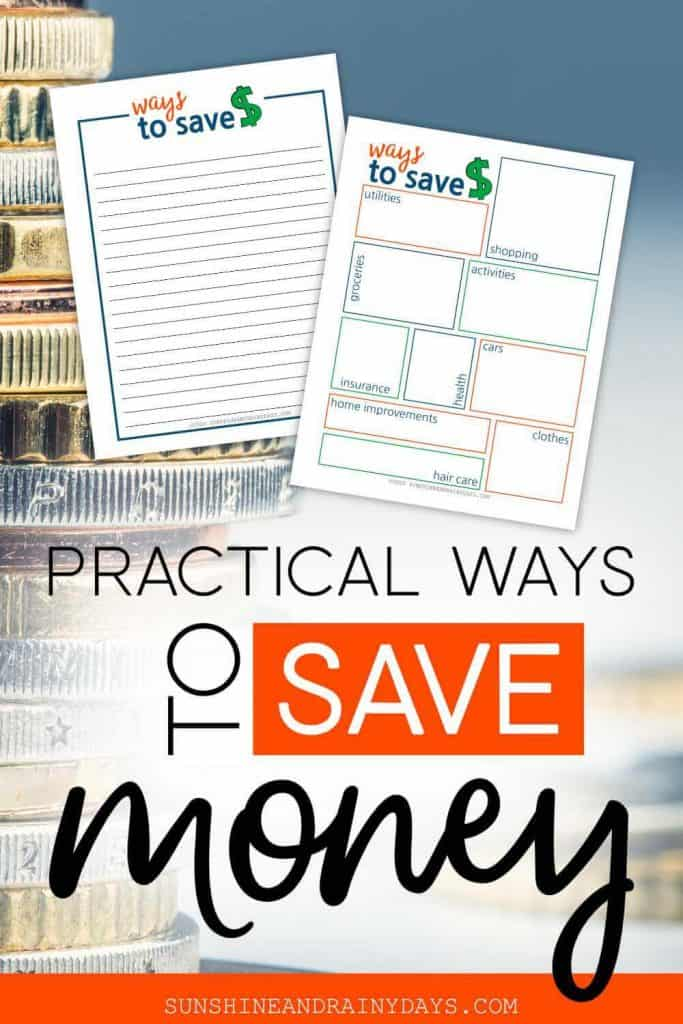 Ways to save money printables with the words: Practical Ways To Save Money.