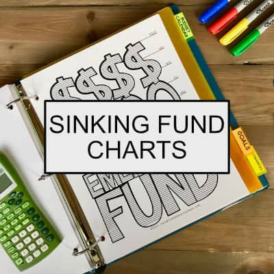 Sinking Fund Chart in a binder with the words: Sinking Fund Charts