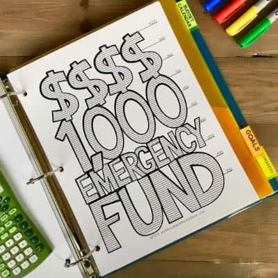 $1,000 Emergency Fund Chart