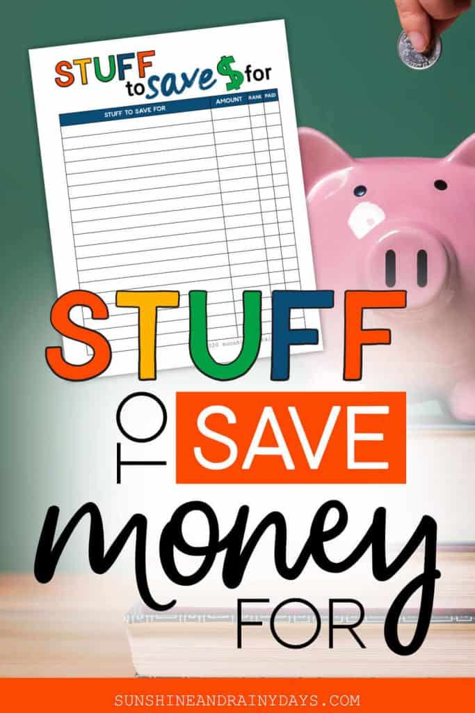 Someone putting a coin in a piggy bank with the words: Stuff To Save Money For.