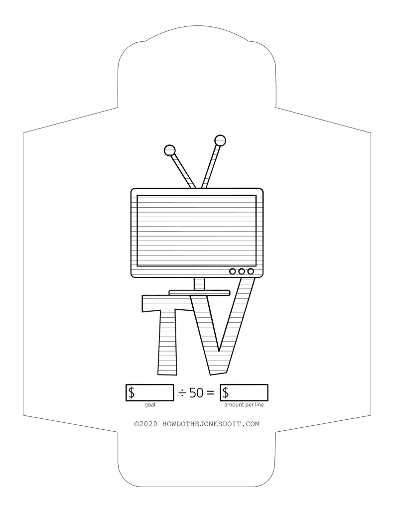 Television Sinking Fund Envelope Printable