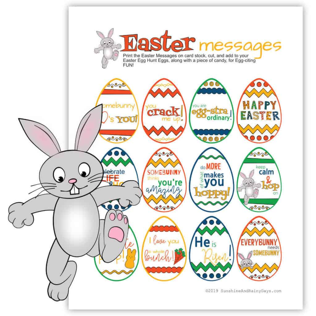 Printable Easter Messages to put in Easter eggs.