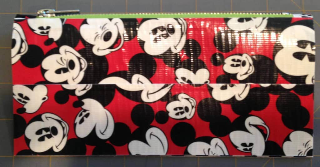 Fold the Duck Tape Pouch in half, with the zipper at the top.