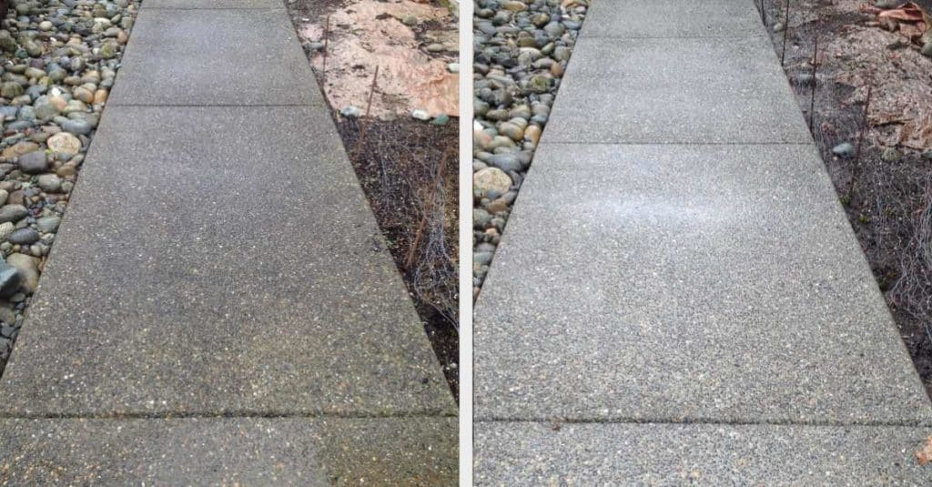 Sidewalk before and after power washing.