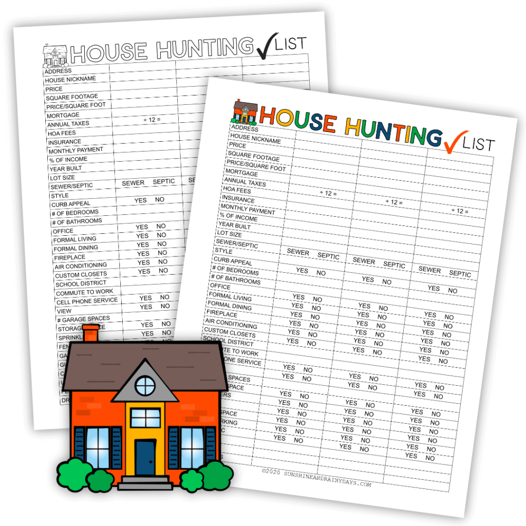 House hunting checklist in color or black and white.