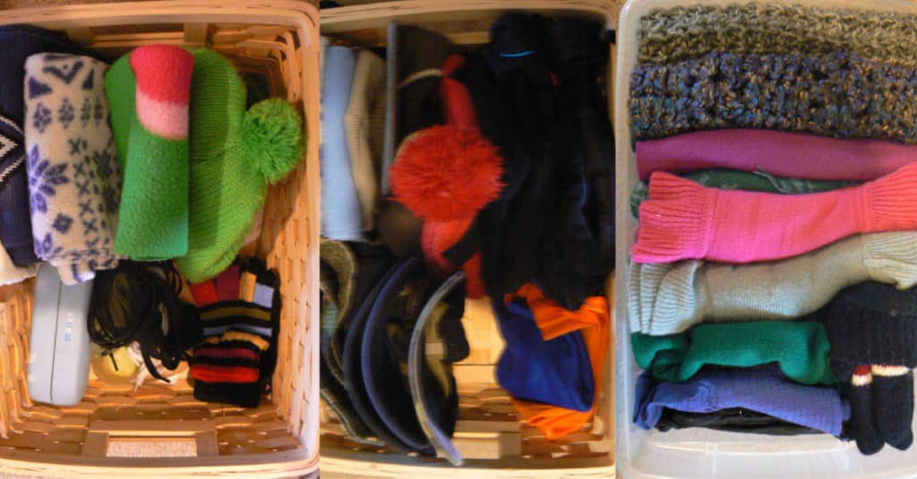 Organized baskets of hats, gloves, and scarves to put in the coat closet.