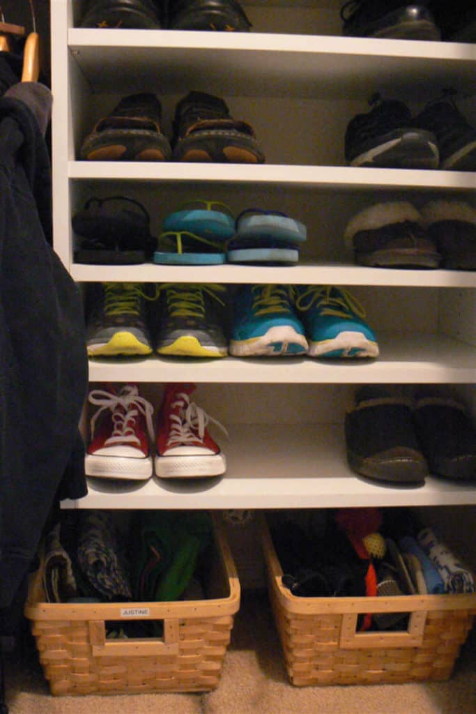 Organize your coat closet by category and person so each family member can easily find what they're looking for.