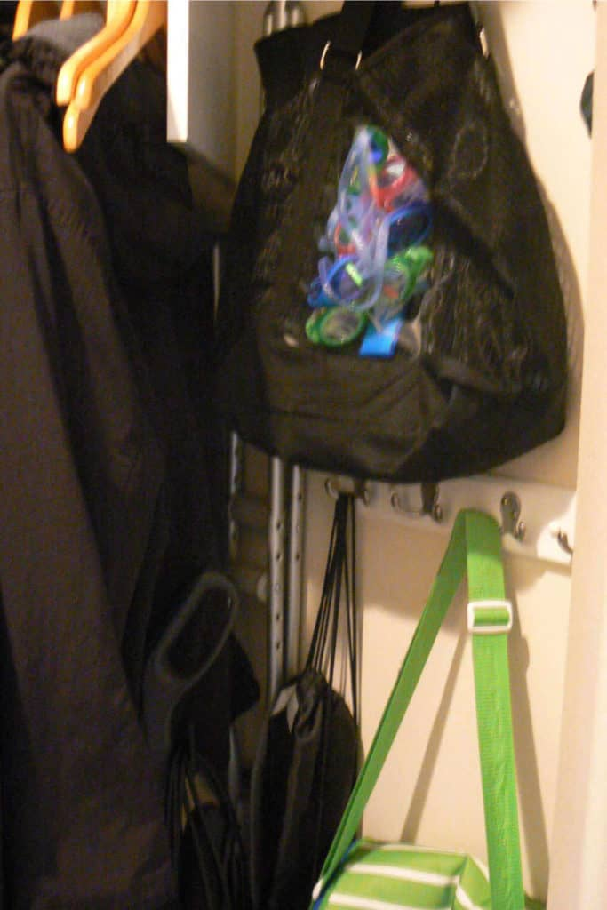 Hooks, with bags hanging from them, in the coat closet.