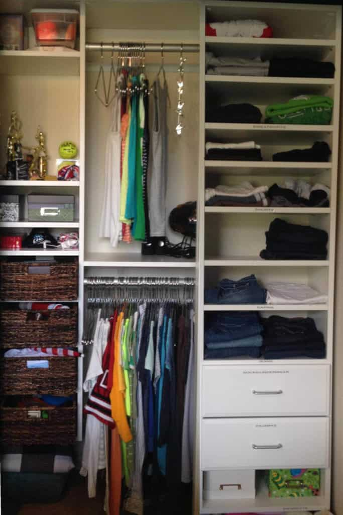 Organizing a teenage girl's closet.