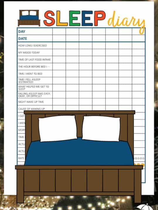 A sleep diary printable to help you record your sleep patterns.