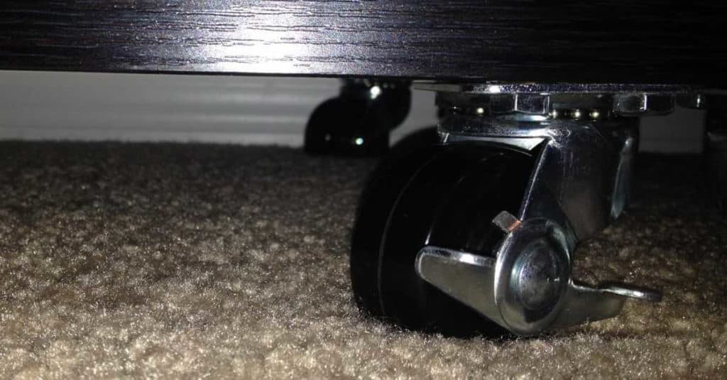 Casters on a bookcase.