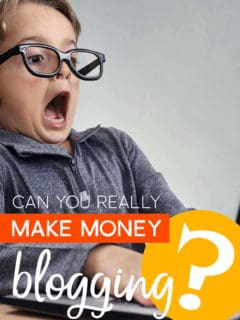 Surprised boy working on a computer with the words: Can You Really Make Money Blogging?