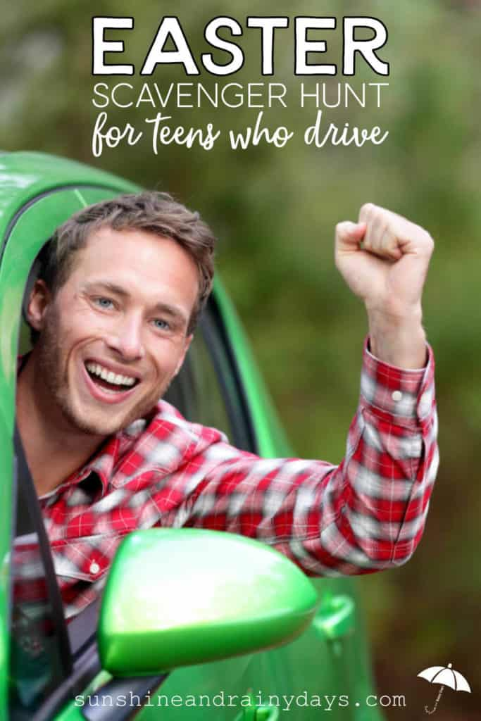 Teenage boy going on an Easter Scavenger Hunt for teens who drive!