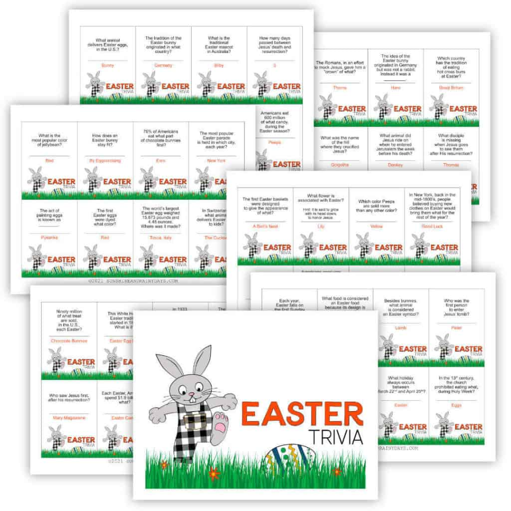 Easter Trivia Game Cards