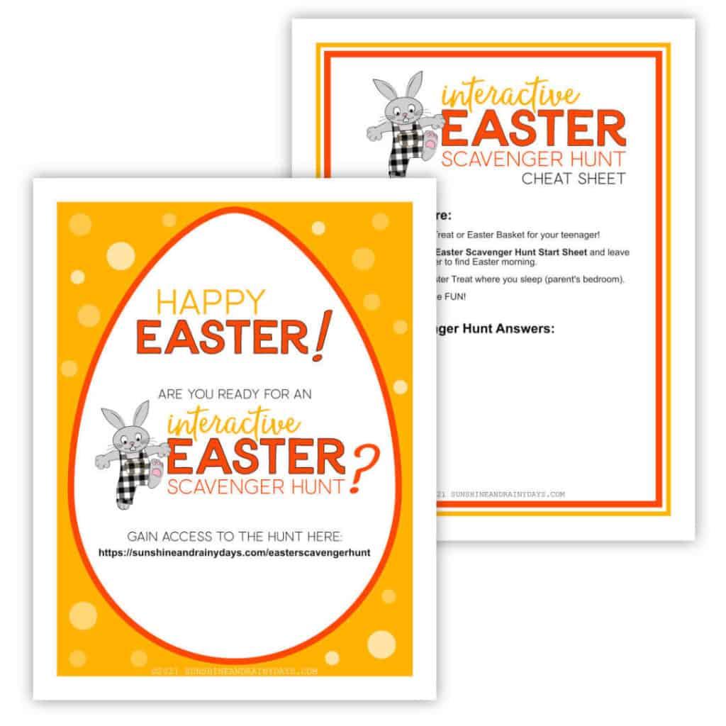 Easter Scavenger Hunt For Teens Start Sheet & Cheat Sheat.