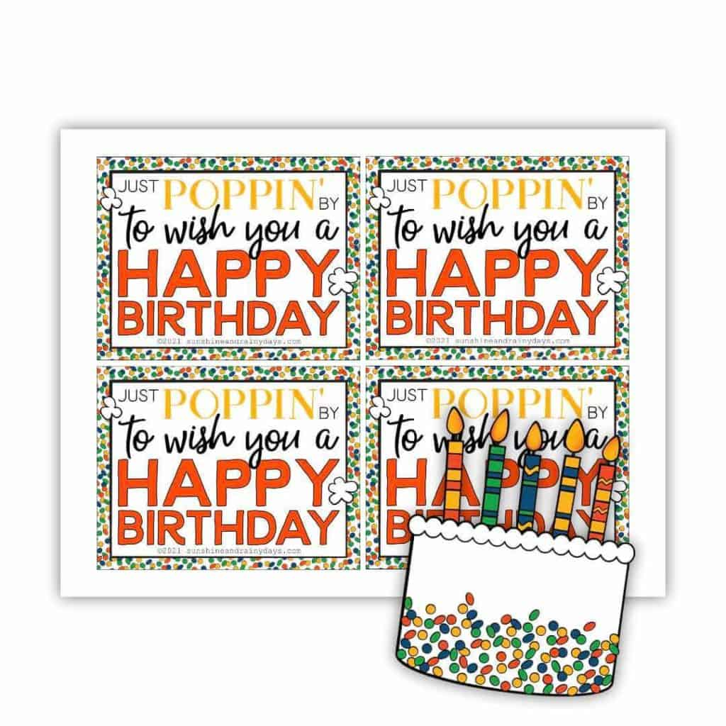 Happy Birthday microwave popcorn tag.