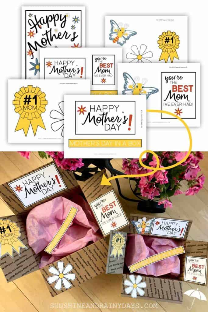 Mother's Day care package printables.