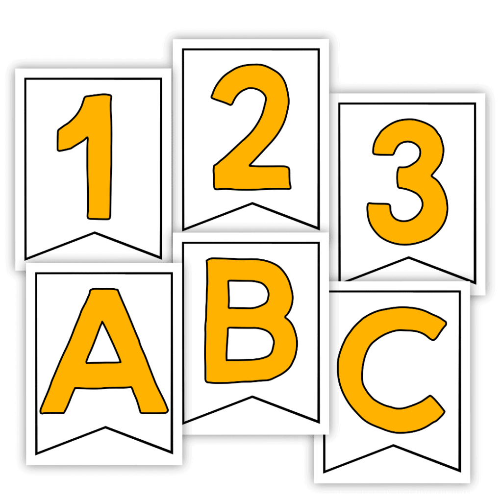 Yellow Banner Letters And Numbers you can print at home!