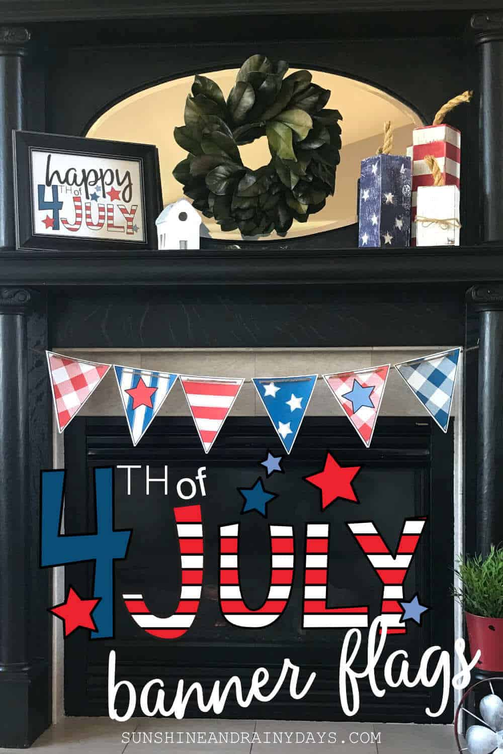 Printable 4th of July banner flags.
