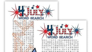 4th of July Word Search printables.