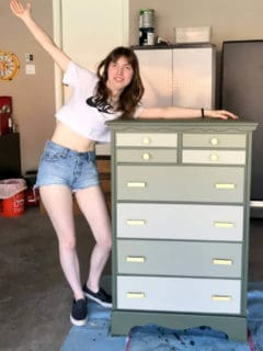 50+ year old chest of drawers, with a fresh coat of paint and new hardware!
